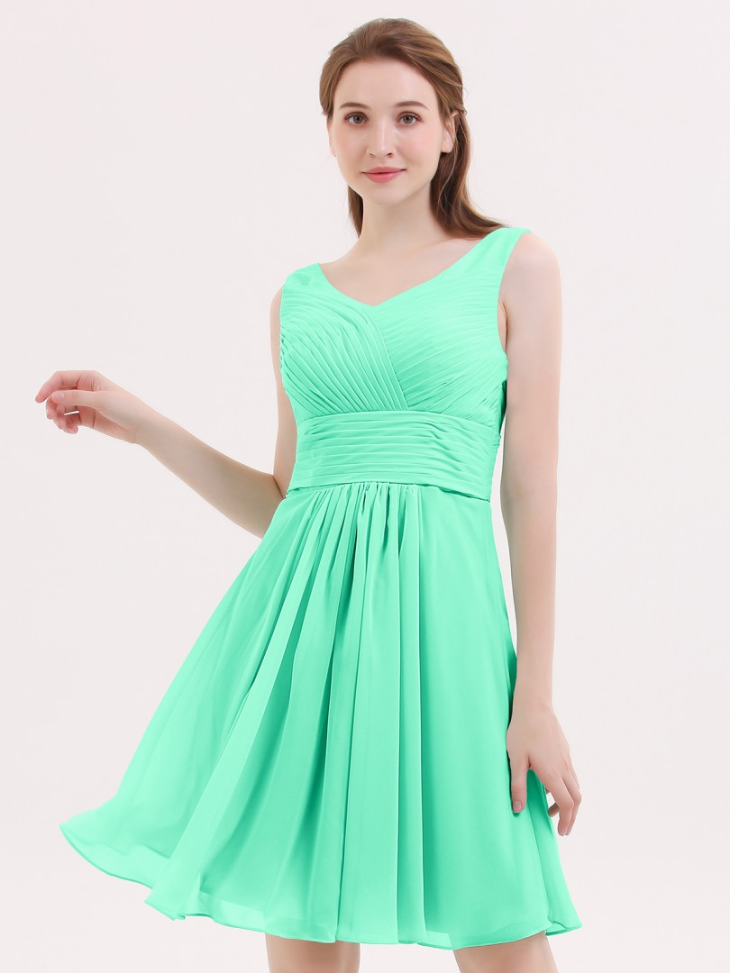 A-line Chiffon Mint Green Zipper Pleated Short/Mini V-neck Sleeveless Short Bridesmaid Dresses