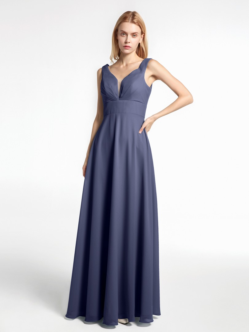 A-line Chiffon Stormy Zipper Pleated Floor-length No Sleeveless Long Bridesmaid Dresses