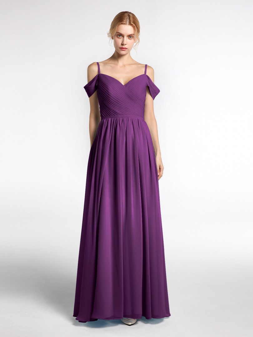 A-line Chiffon Grape Zipper Pleated Floor-length Sweetheart Straps Long Bridesmaid Dresses
