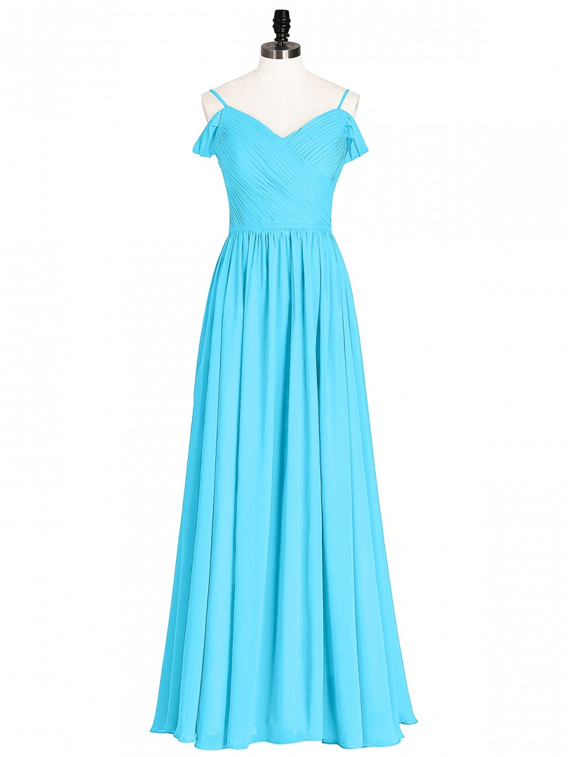 A-line Chiffon Coral Zipper Pleated Floor-length Sweetheart Straps Long Bridesmaid Dresses