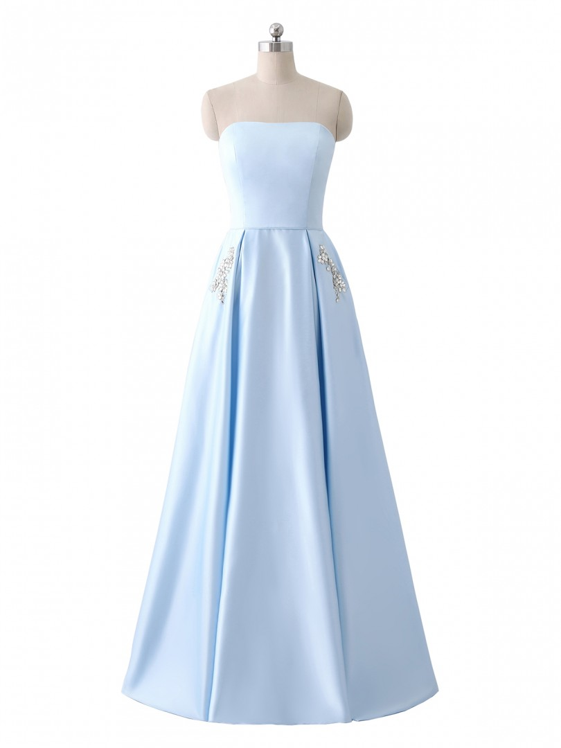A-line Satin Sky Blue Lace-up Pocket, Rhinestone Floor-length Strapless Sleeveless Best Sellers