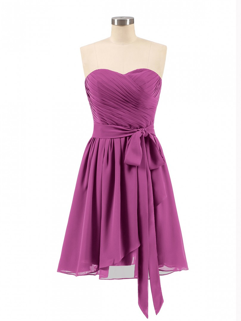 A-line Chiffon Orchid Zipper Bow, Ruched, Pleated Short/Mini Sweetheart Sleeveless Bridesmaid Dresses