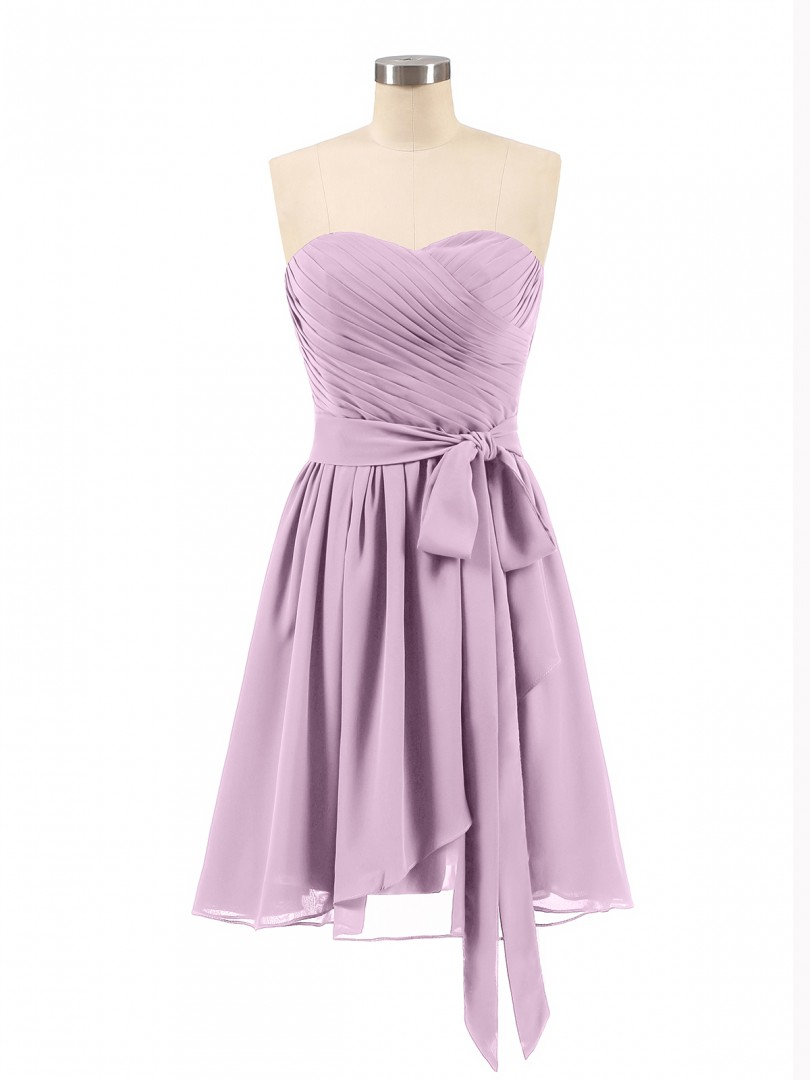 A-line Chiffon Orchid Zipper Bow, Ruched, Pleated Short/Mini Sweetheart Sleeveless Short Bridesmaid Dresses