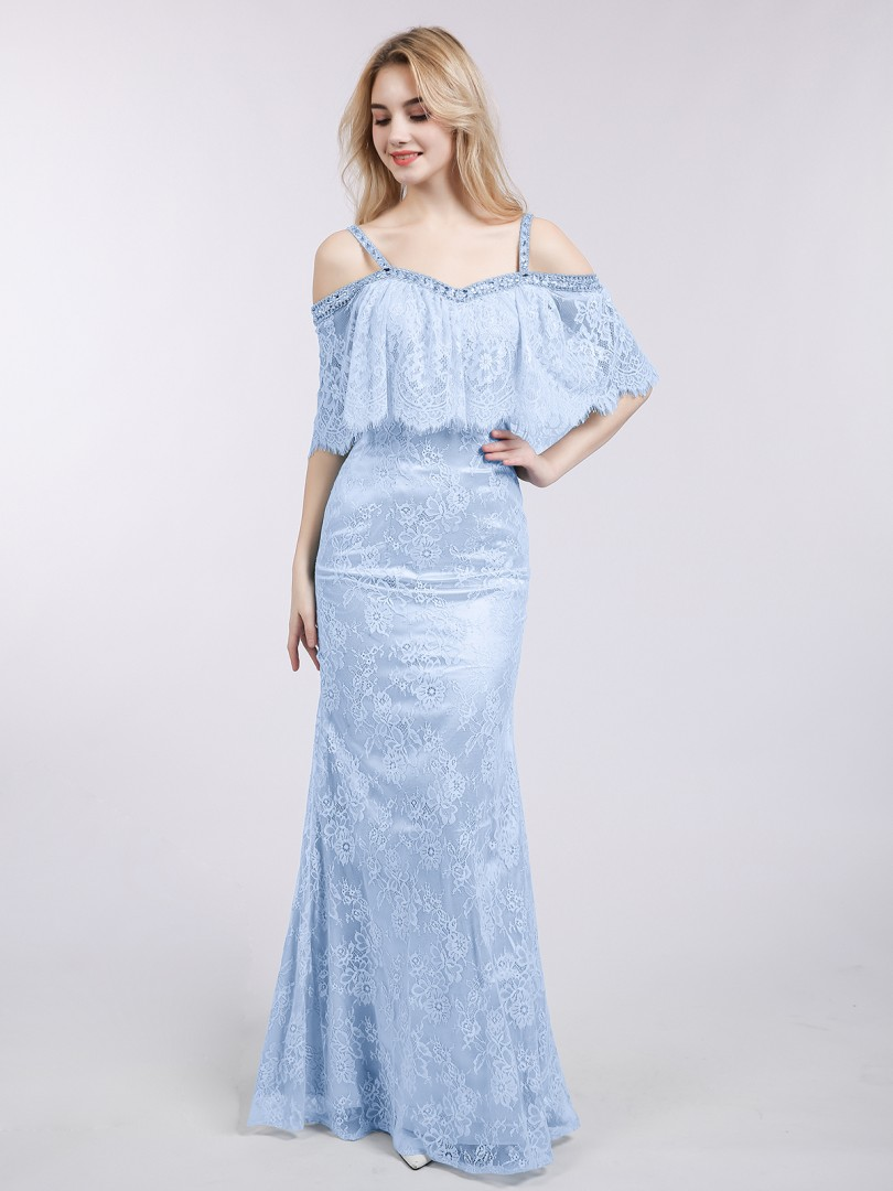 Trumpet/Mermaid Lace Sky Blue Zipper Side Beaded Floor-length Off-the-shoulder Straps Mermaid Prom Dresses