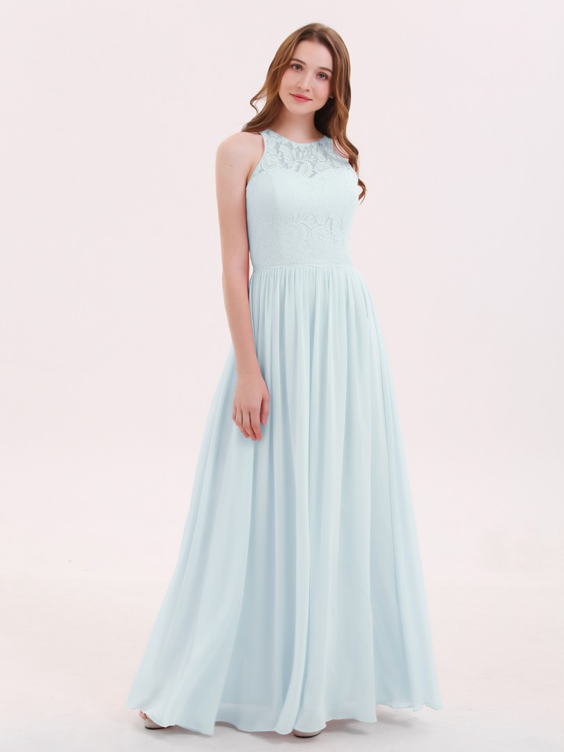 A-line Chiffon Candy Pink Zipper Lace, Ruched Floor-length Scoop Sleeveless Long Bridesmaid Dresses
