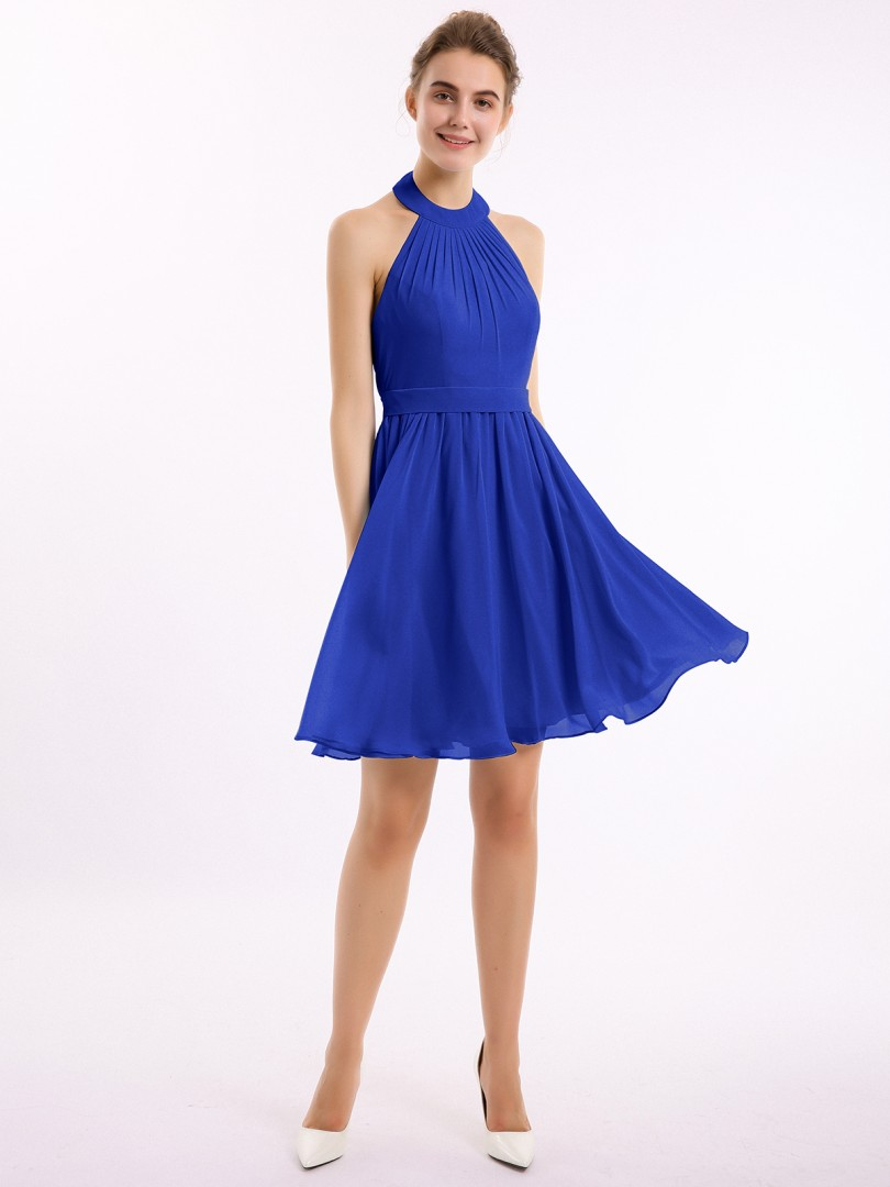A-line Chiffon Royal Blue Backless Belt, Ruched, Pleated Short/Mini Halter Sleeveless New Arrivals