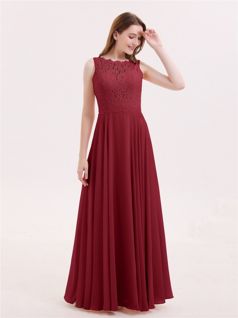 A-line Chiffon Coral Zipper Lace Floor-length Bateau Sleeveless Bridesmaid Dresses