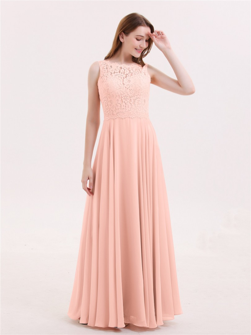 A-line Chiffon Coral Zipper Lace Floor-length Bateau Sleeveless Prom Dresses