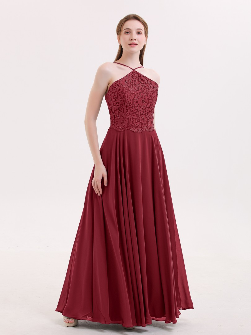 A-line Chiffon Stormy Zipper Lace Floor-length Halter Spaghetti Straps Long Bridesmaid Dresses