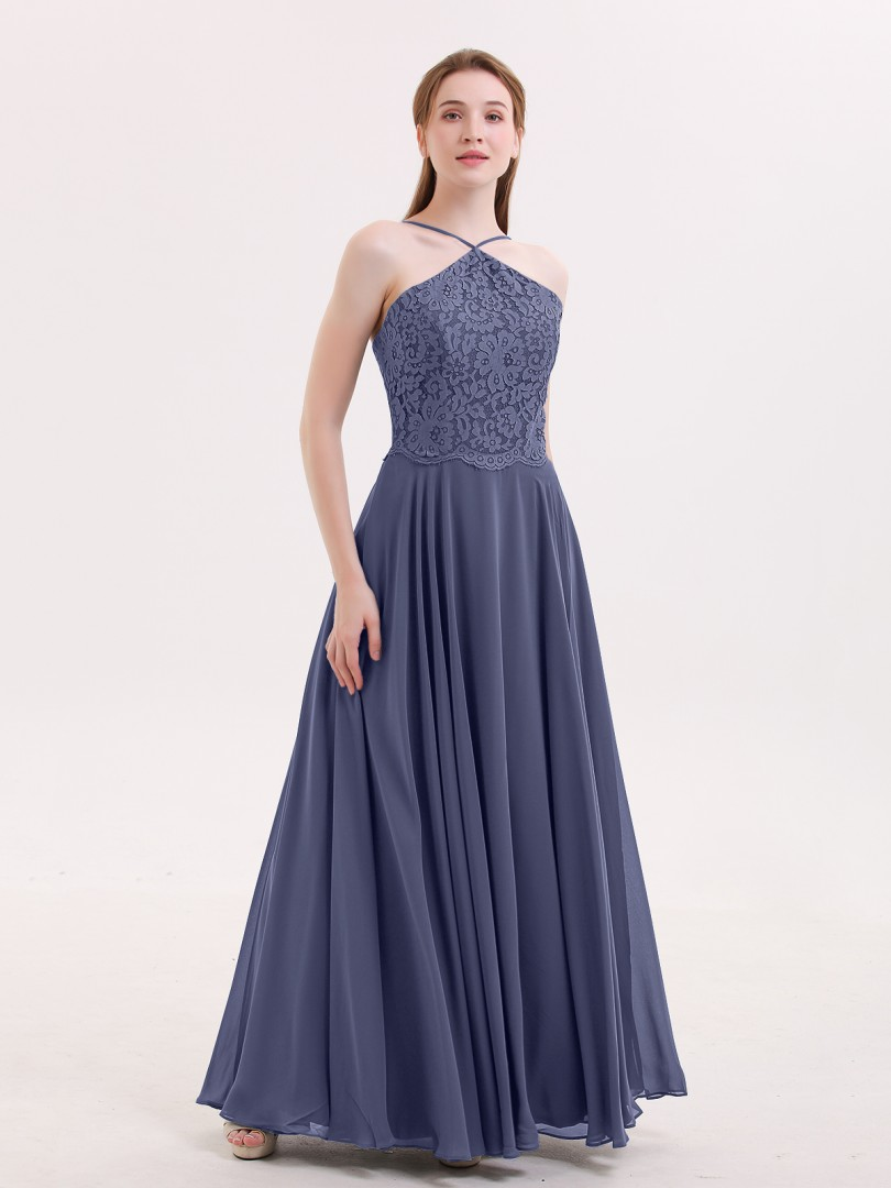 A-line Chiffon Stormy Zipper Lace Floor-length Halter Spaghetti Straps Bridesmaid Dresses