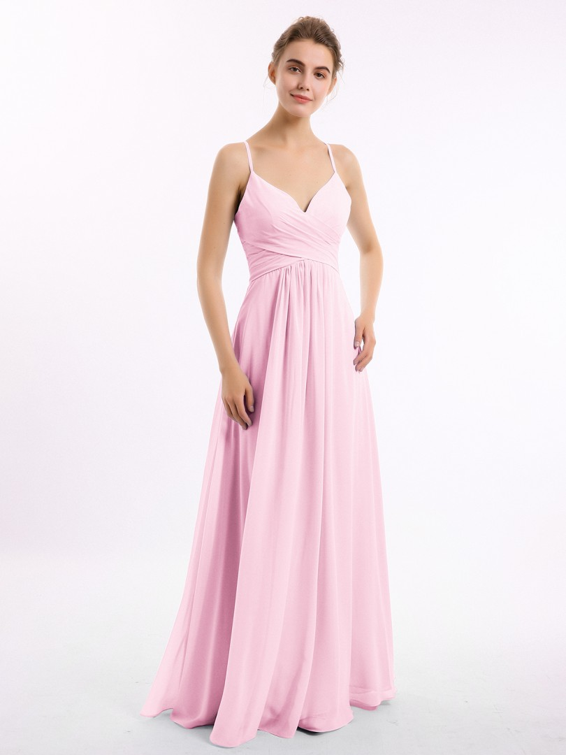 A-line Chiffon Dusty Blue Criss-Cross Straps Ruched, Pleated Floor-length V-neck Spaghetti Straps Long Bridesmaid Dresses