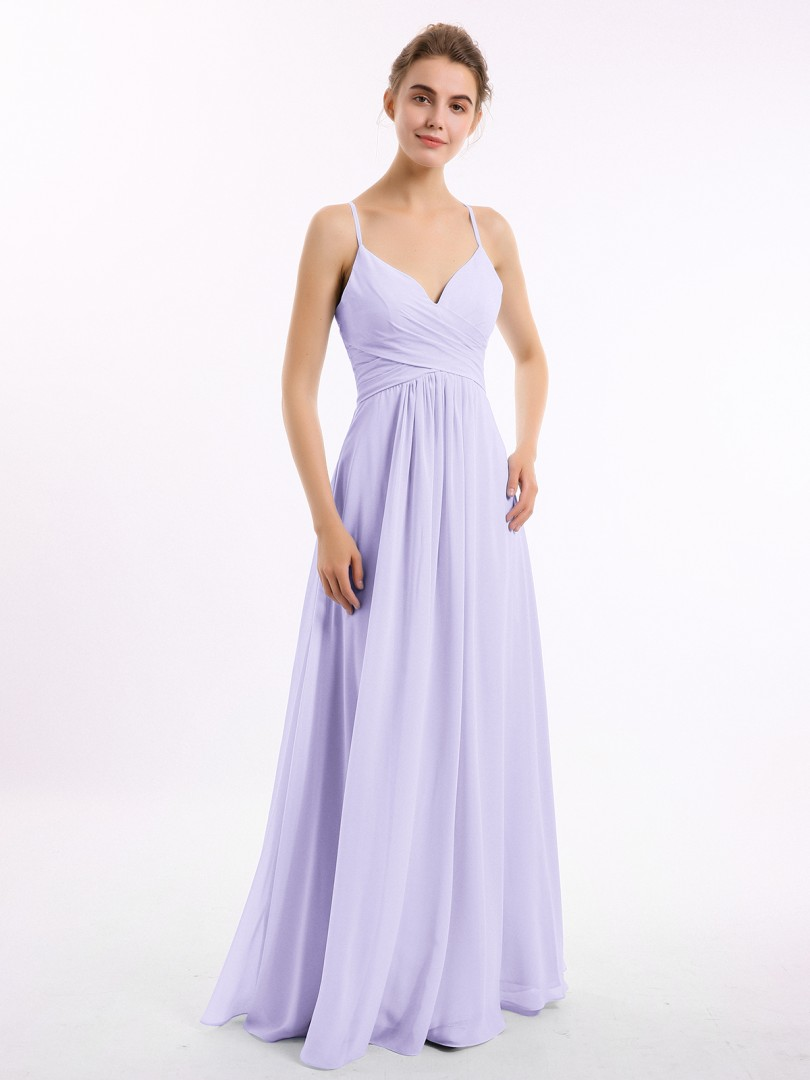 A-line Chiffon Dusty Blue Criss-Cross Straps Ruched, Pleated Floor-length V-neck Spaghetti Straps New Arrivals