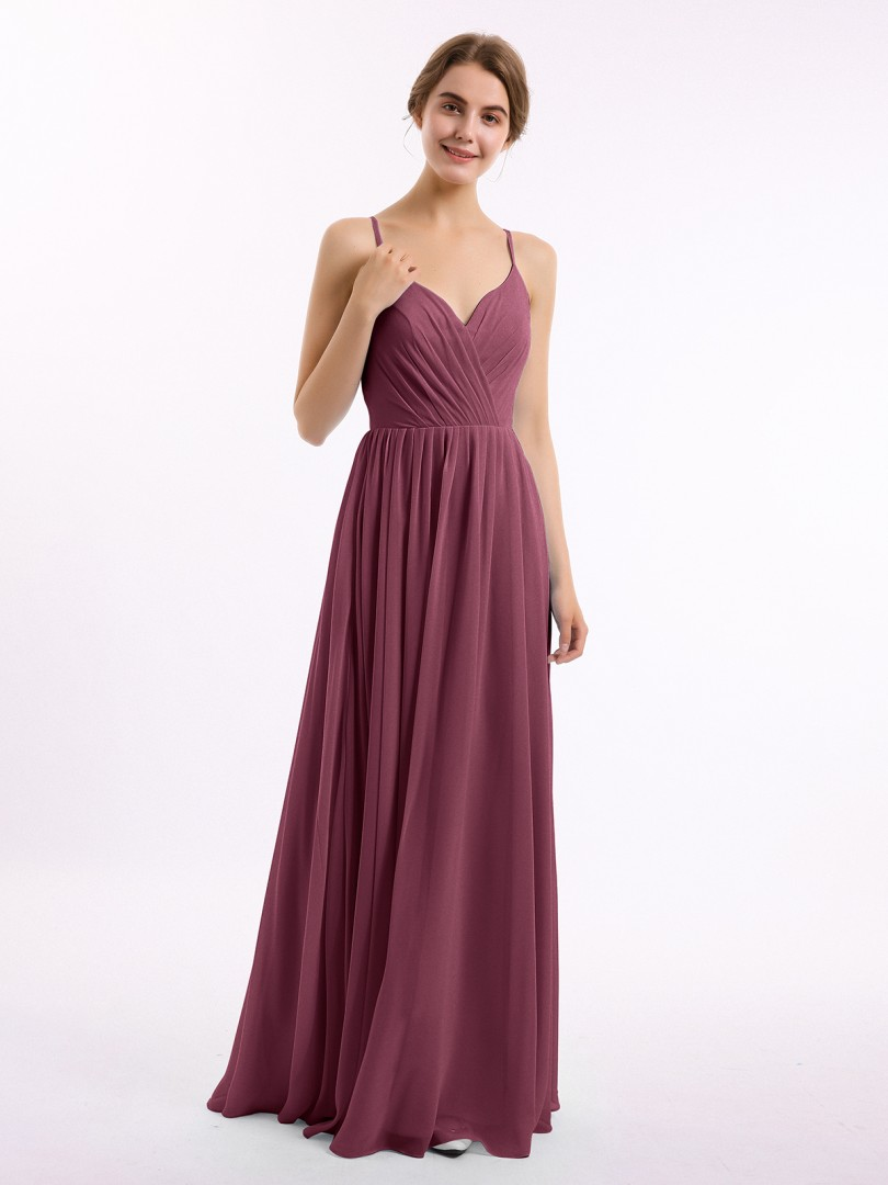 A-line Chiffon Mulberry Zipper Ruched, Pleated Floor-length V-neck Spaghetti Straps Bridesmaid Dresses