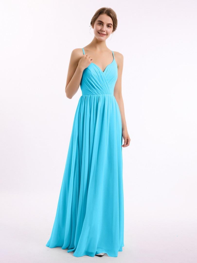 A-line Chiffon Mulberry Zipper Ruched, Pleated Floor-length V-neck Spaghetti Straps New Arrivals