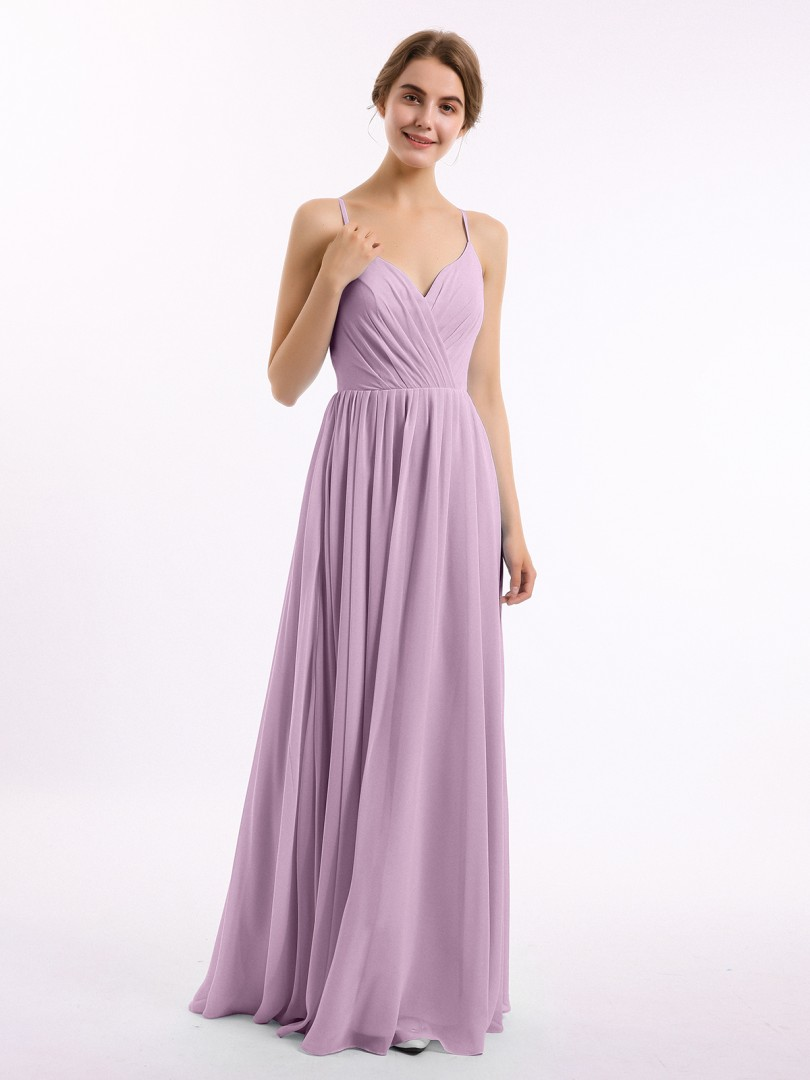 A-line Chiffon Mulberry Zipper Ruched, Pleated Floor-length V-neck Spaghetti Straps Long Bridesmaid Dresses