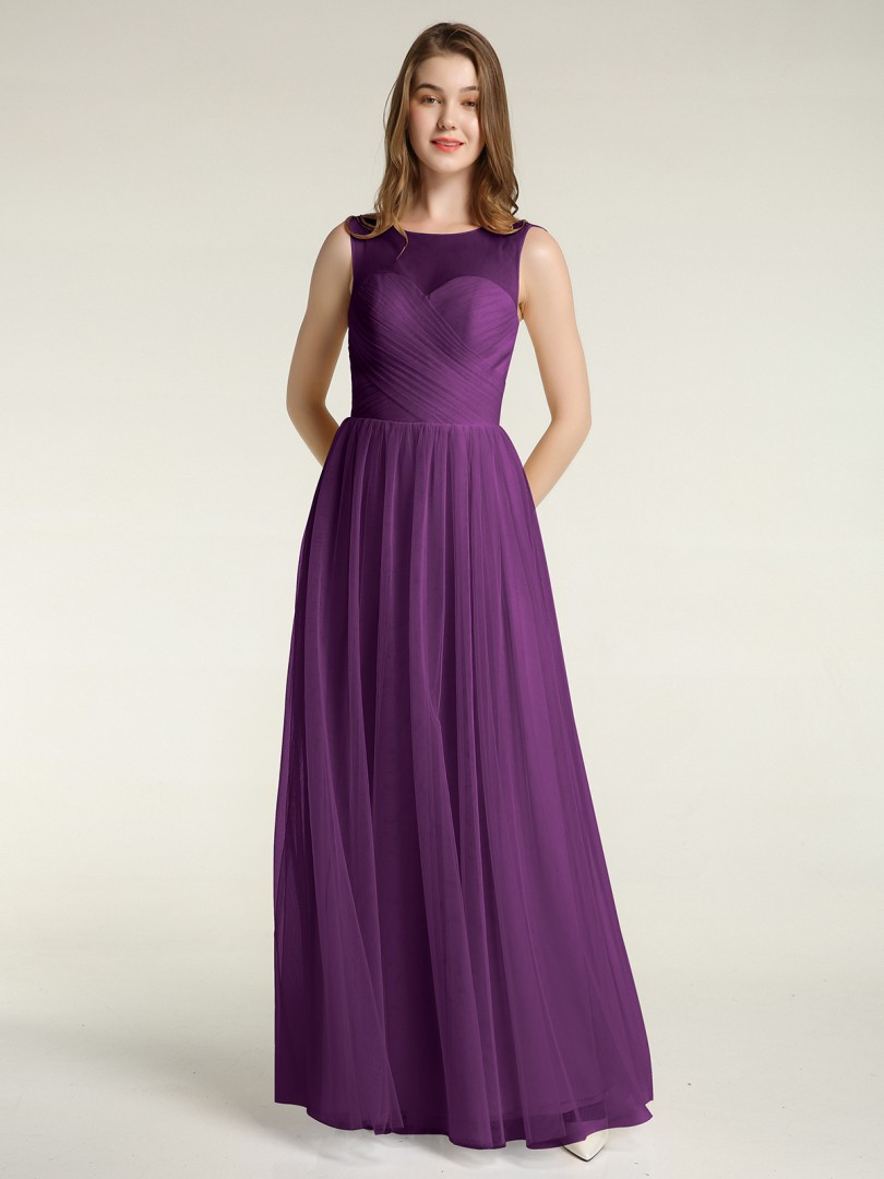 A-line Tulle Grape Zipper Ruched, Pleated Floor-length Illusion Sleeveless Long Bridesmaid Dresses