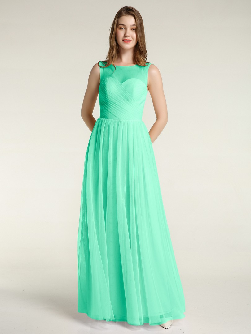 A-line Tulle Grape Zipper Ruched, Pleated Floor-length Illusion Sleeveless New Arrivals