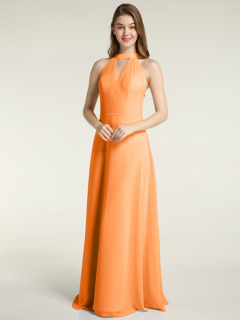 A-line Chiffon Pearl Pink Zipper Ruched Floor-length Halter Sleeveless New Arrivals