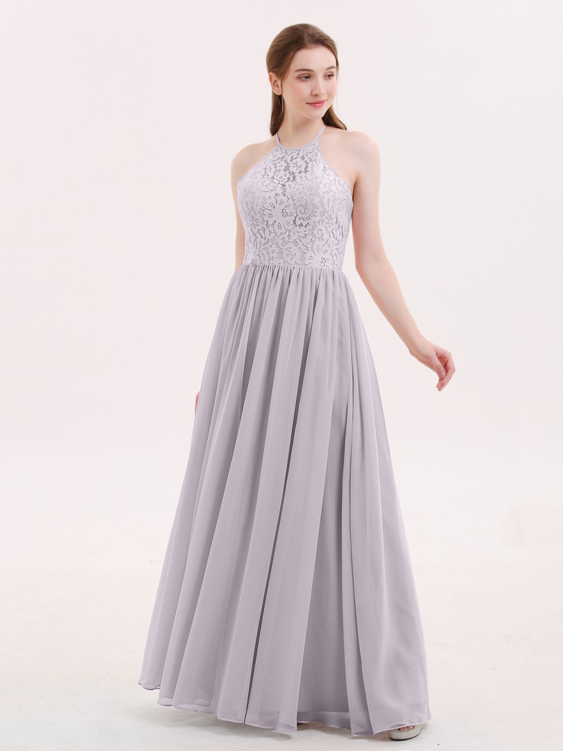 A-line Chiffon Dusk Criss-Cross Straps Lace, Ruched Floor-length Halter Sleeveless Lace Bridesmaid Dresses