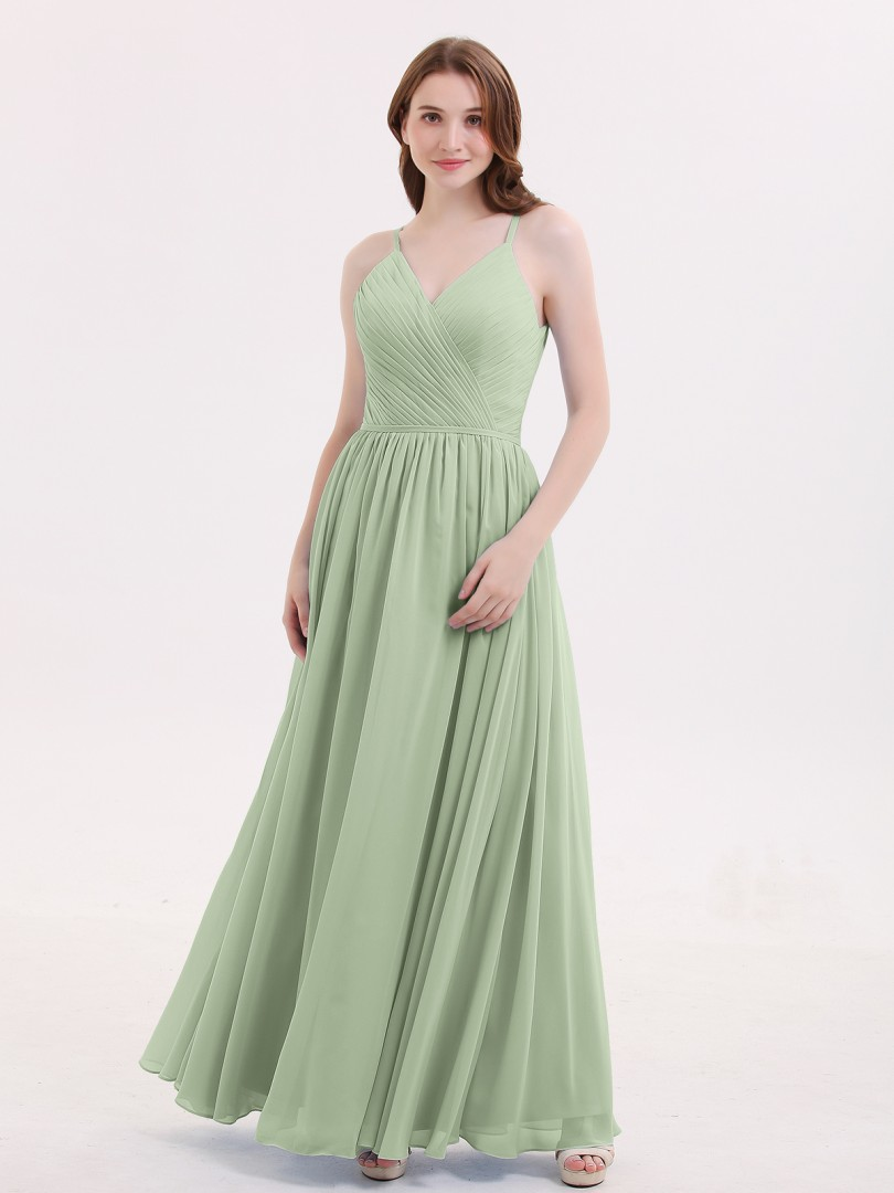 9e4de15f9244 ... Long Bridesmaid Dresses  Babaroni Tiffany. A-line Chiffon Dusty Blue  Zipper Ruched
