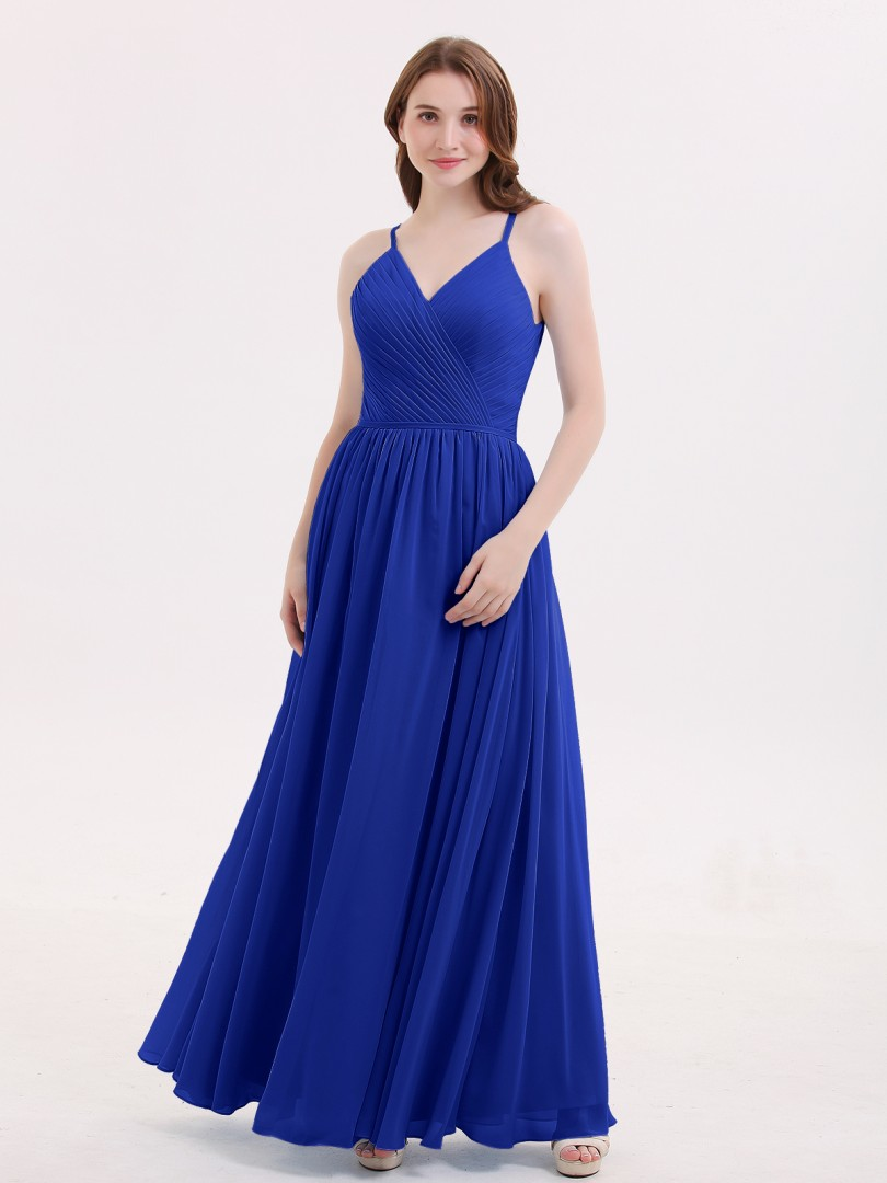 A-line Chiffon Dusty Blue Zipper Ruched, Pleated Floor-length V-neck Spaghetti Straps Long Bridesmaid Dresses