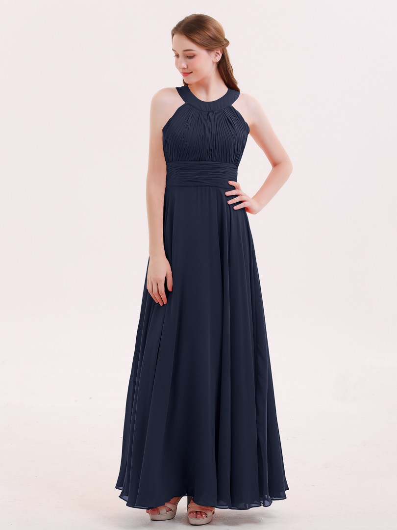 A-line Chiffon Red Zipper Pleated Floor-length Halter Sleeveless Long Bridesmaid Dresses