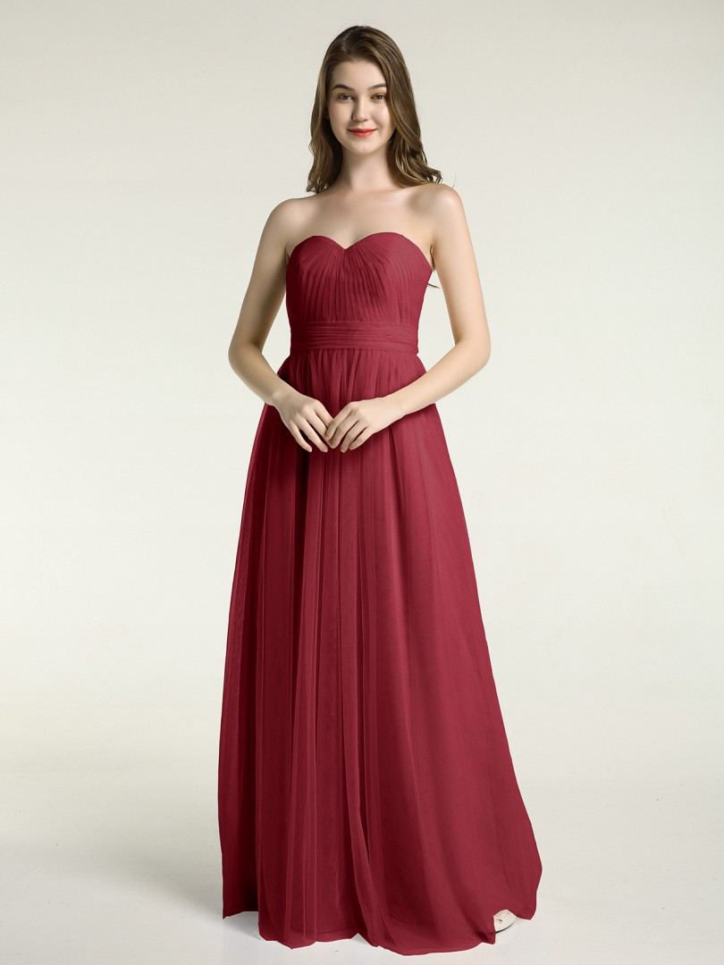 A-line Tulle Coral Zipper Ruched, Pleated Floor-length Sweetheart Sleeveless Tulle Bridesmaid Dresses