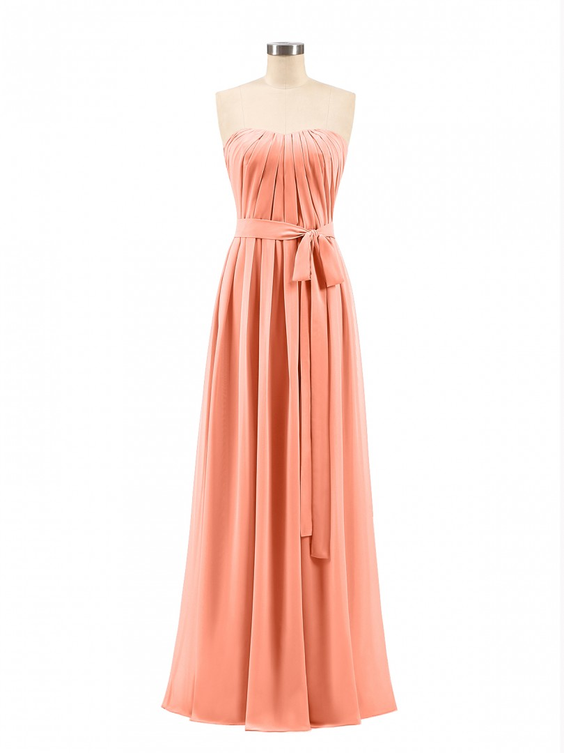 A-line Chiffon Mulberry Zipper Bow, Ruched Floor-length Strapless Sleeveless Bridesmaid Dresses