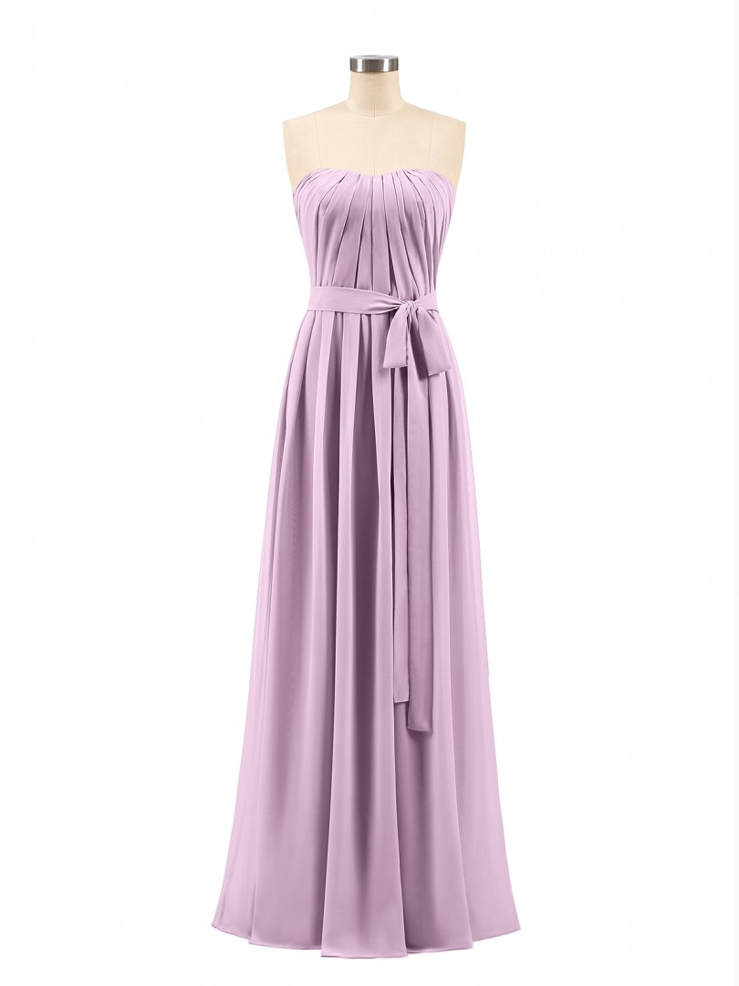 A-line Chiffon Mulberry Zipper Bow, Ruched Floor-length Strapless Sleeveless Long Bridesmaid Dresses