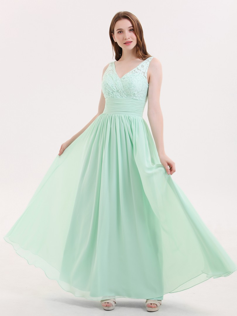 A-line Chiffon Mint Green Zipper Lace, Ruched, Pleated Floor-length V-neck Sleeveless Long Bridesmaid Dresses