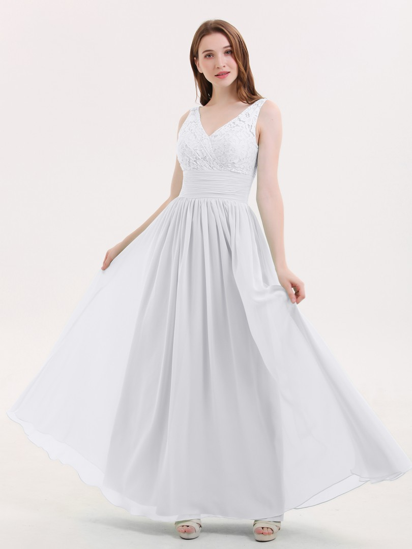 fdabaed382 White Valerie Lace and Chiffon Dresses with Open Bck