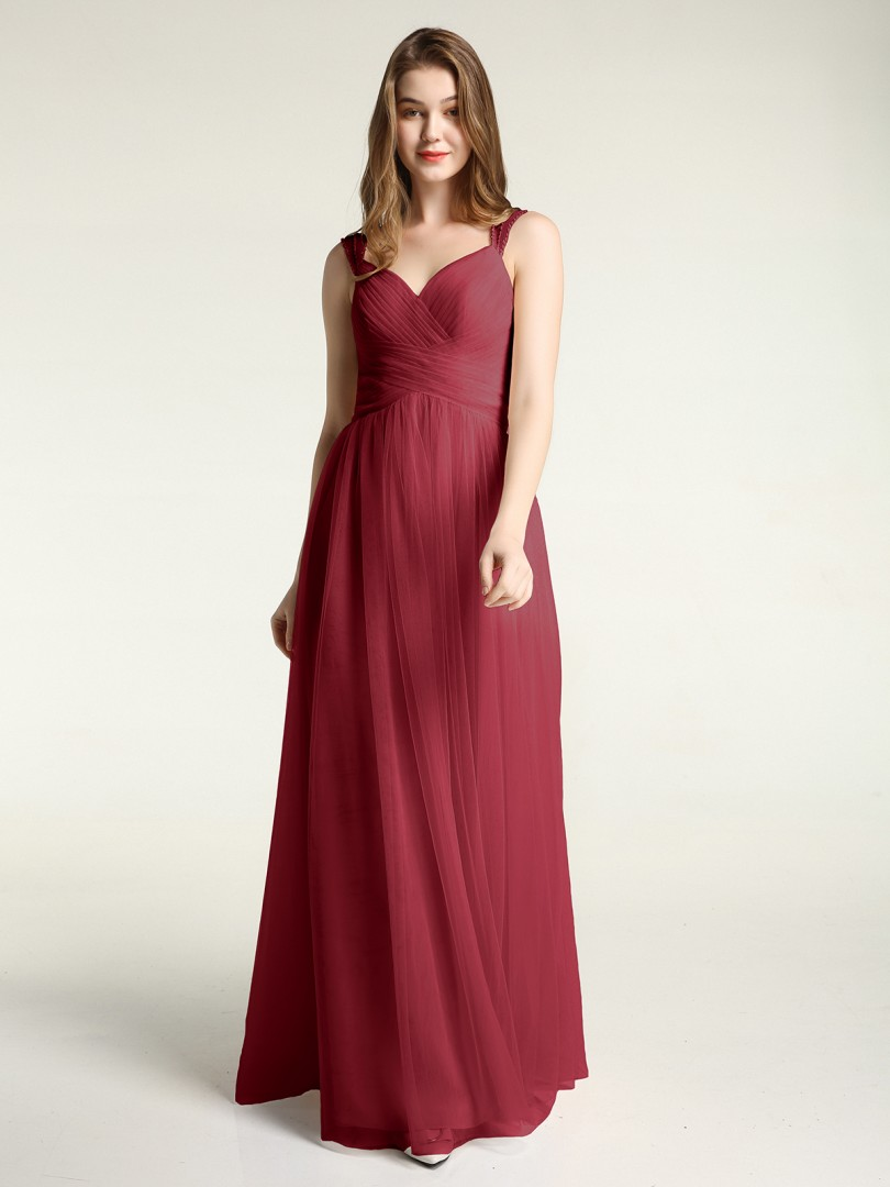 A-line Tulle Dusty Rose Zipper Beaded, Ruched, Pleated Floor-length Sweetheart Straps Tulle Bridesmaid Dresses