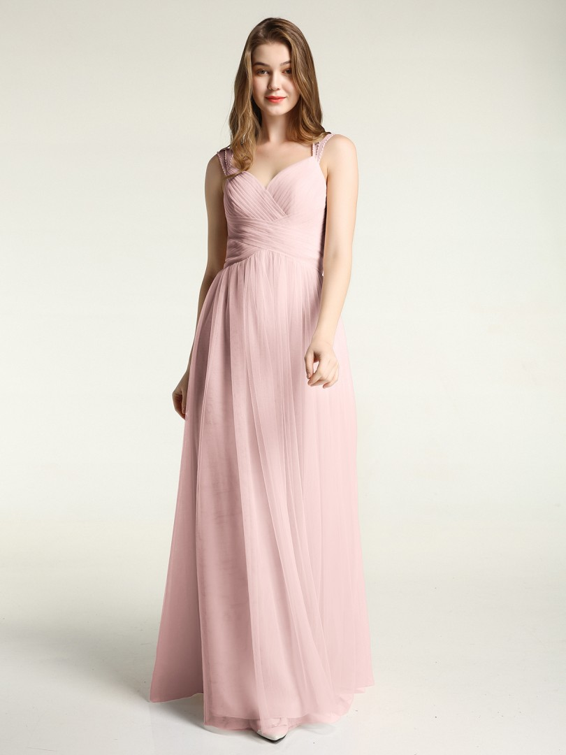 A-line Tulle Dusty Rose Zipper Beaded, Ruched, Pleated Floor-length Sweetheart Straps Bridesmaid Dresses
