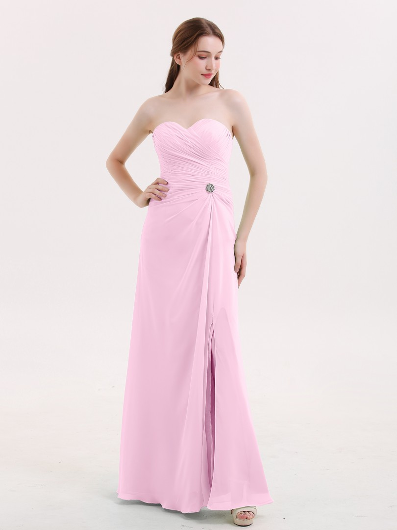 A-line Chiffon Sage Zipper Rhinestone, Pleated Floor-length Sweetheart Sleeveless Long Bridesmaid Dresses