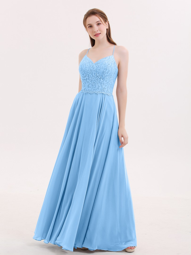 A-line Chiffon Blue Criss-Cross Straps Lace, Ruched Floor-length V-neck Spaghetti Straps Lace Bridesmaid Dresses