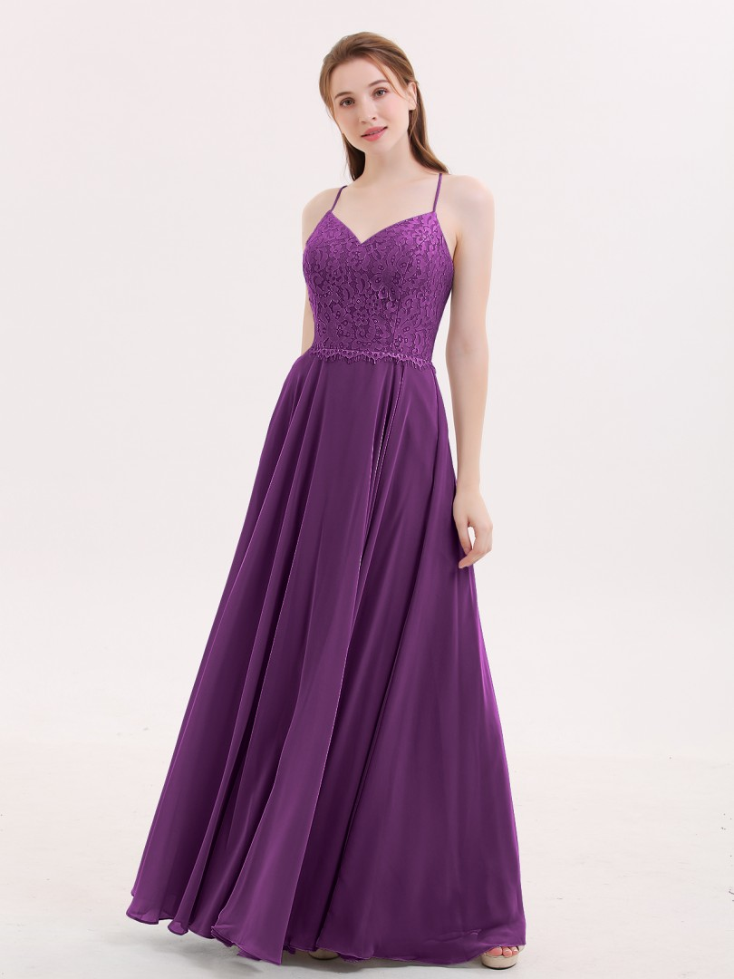 A-line Chiffon Blue Criss-Cross Straps Lace, Ruched Floor-length V-neck Spaghetti Straps Long Bridesmaid Dresses