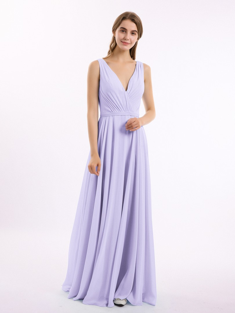 A-line Chiffon Mist Backless Belt, Ruched, Pleated Floor-length V-neck Sleeveless Long Bridesmaid Dresses