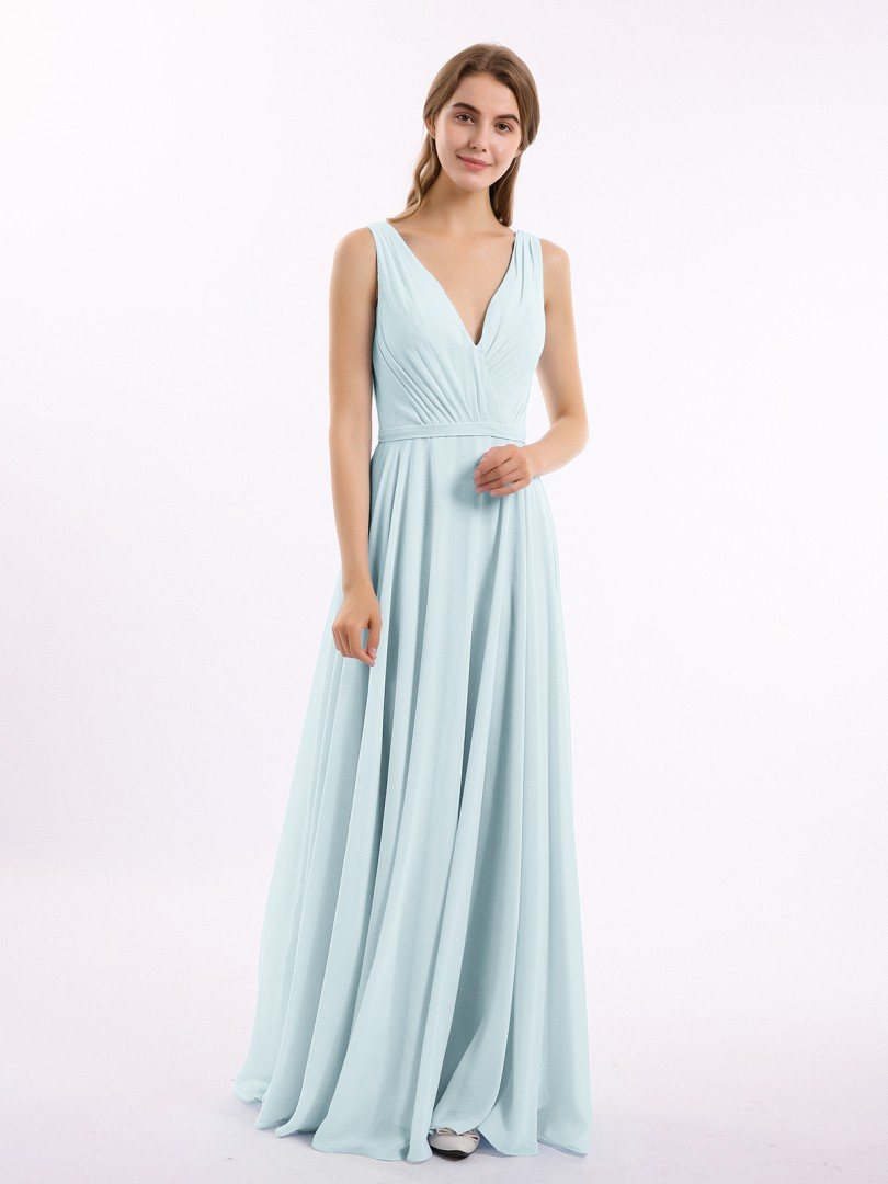 A-line Chiffon Mist Backless Belt, Ruched, Pleated Floor-length V-neck Sleeveless Bridesmaid Dresses