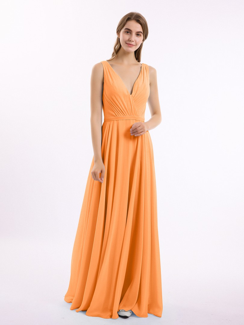 A-line Chiffon Mist Backless Belt, Ruched, Pleated Floor-length V-neck Sleeveless New Arrivals