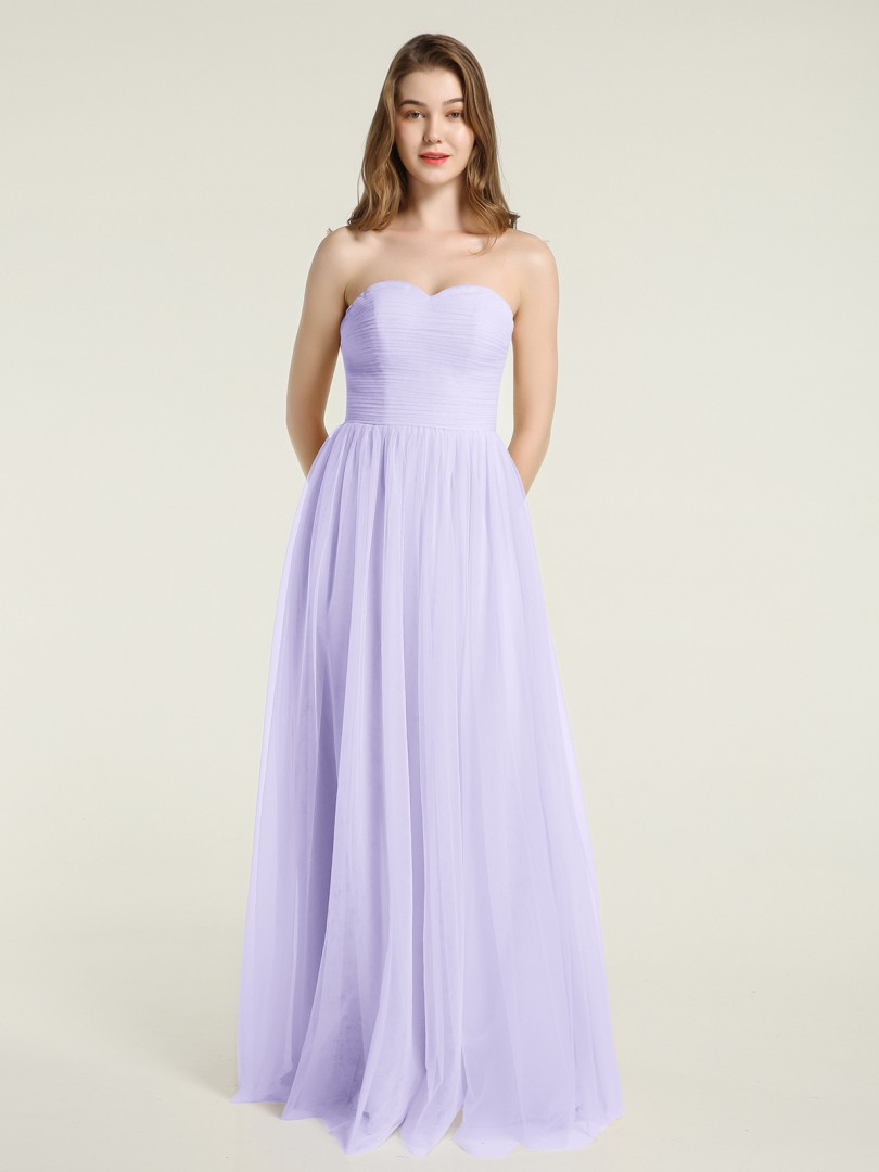 A-line Tulle Lilac Zipper Ruched, Pleated Floor-length Sweetheart Sleeveless New Arrivals