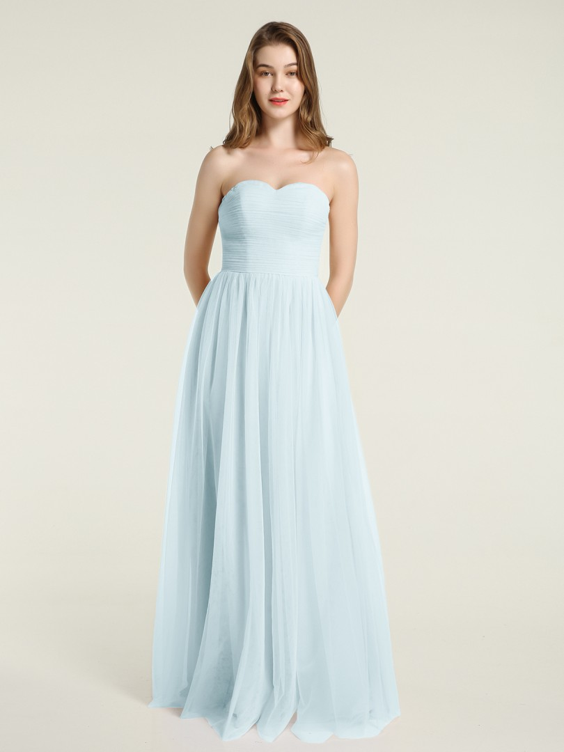 A-line Tulle Lilac Zipper Ruched, Pleated Floor-length Sweetheart Sleeveless Tulle Bridesmaid Dresses