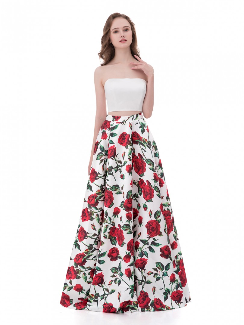 A-line Satin Floral Zipper  Floor-length Strapless Sleeveless Long Prom Dresses