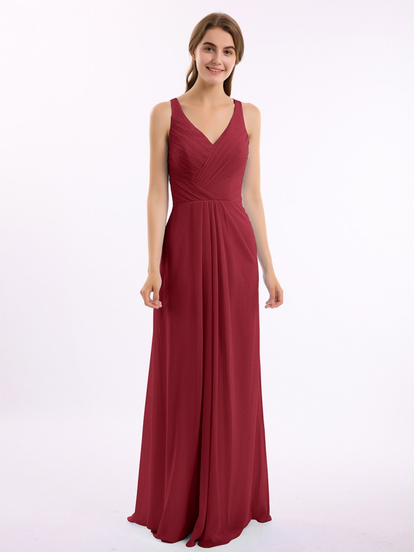A-line Chiffon Dark Navy Backless Ruched, Pleated Floor-length V-neck Straps Long Bridesmaid Dresses