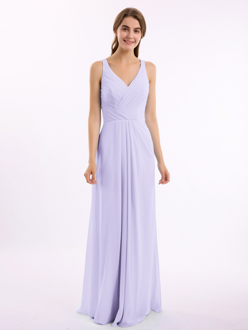 A-line Chiffon Dark Navy Backless Ruched, Pleated Floor-length V-neck Straps New Arrivals