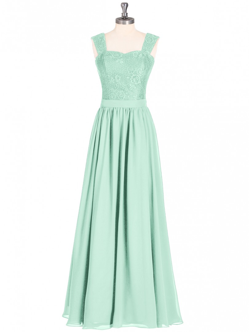 A-line Chiffon Mint Green Zipper Lace, Sash Floor-length Sweetheart Straps Long Bridesmaid Dresses