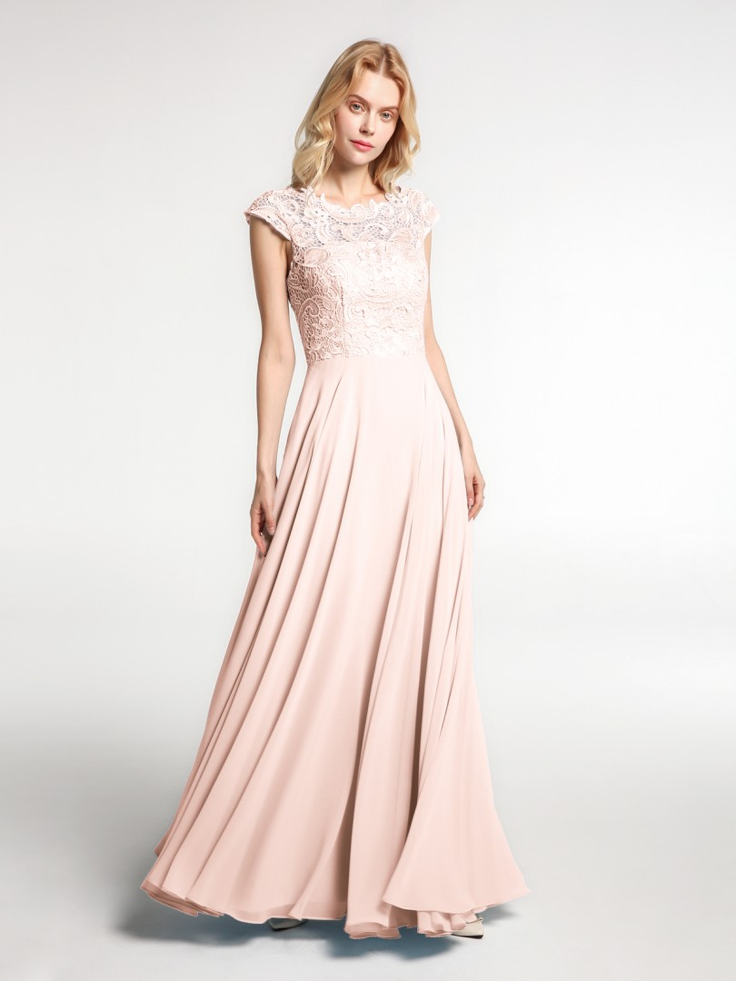 A-line No Pearl Pink Zipper Lace Floor-length Illusion Cap Sleeve New Arrivals