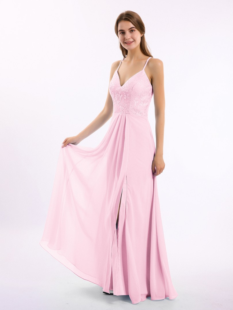 A-line Chiffon Tahiti Backless Lace, Ruched Floor-length V-neck Spaghetti Straps New Arrivals