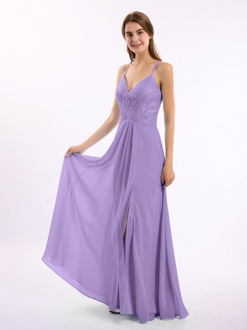 A-line Chiffon Tahiti Backless Lace, Ruched Floor-length V-neck Spaghetti Straps Long Bridesmaid Dresses