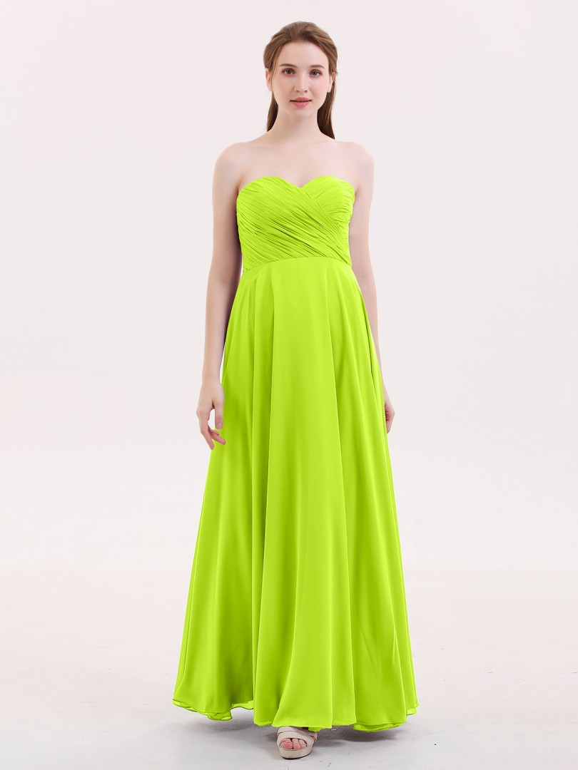 Empire Chiffon Lime Green Zipper Pleated Floor-length Sweetheart Sleeveless Bridesmaid Dresses