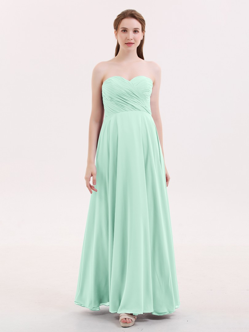 Empire Chiffon Lime Green Zipper Pleated Floor-length Sweetheart Sleeveless Long Bridesmaid Dresses